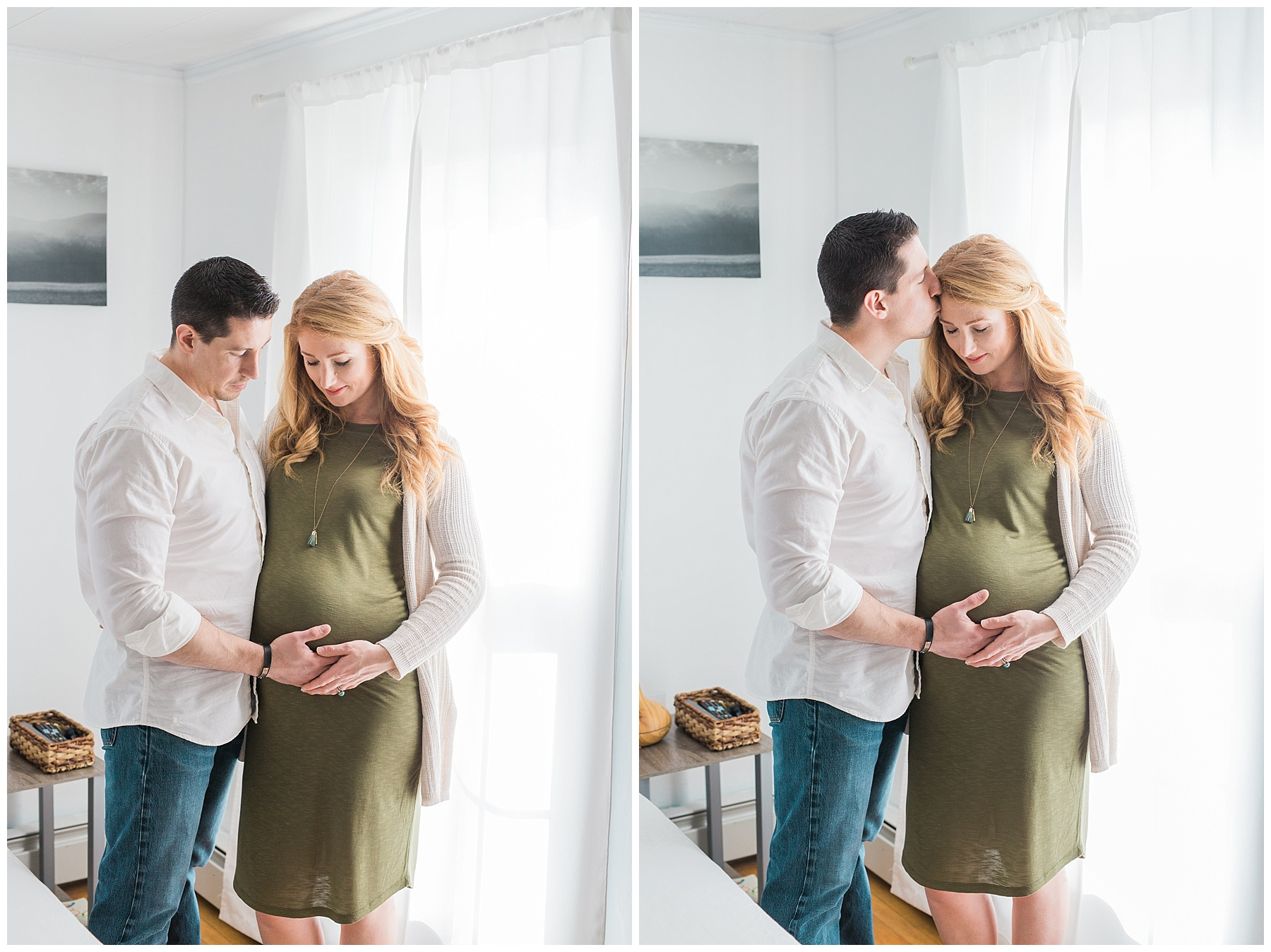 a redheaded pregnant woman and her family take maternity photos in her bangor, maine, home