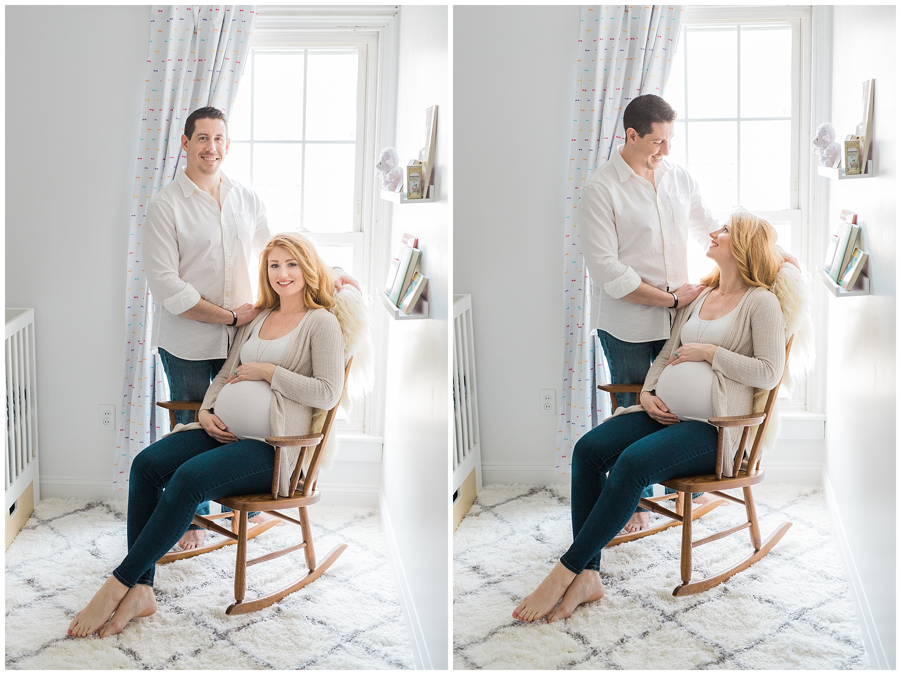 a redheaded pregnant woman and her family take maternity photos in her bangor, maine, home in a white neutral nursery