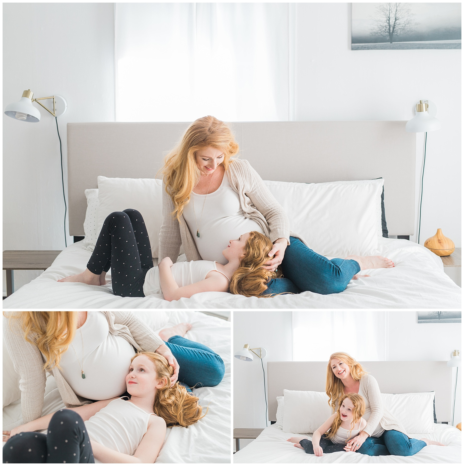 a redheaded pregnant woman and her family take maternity photos in her bangor, maine, home in a white neutral bedroom