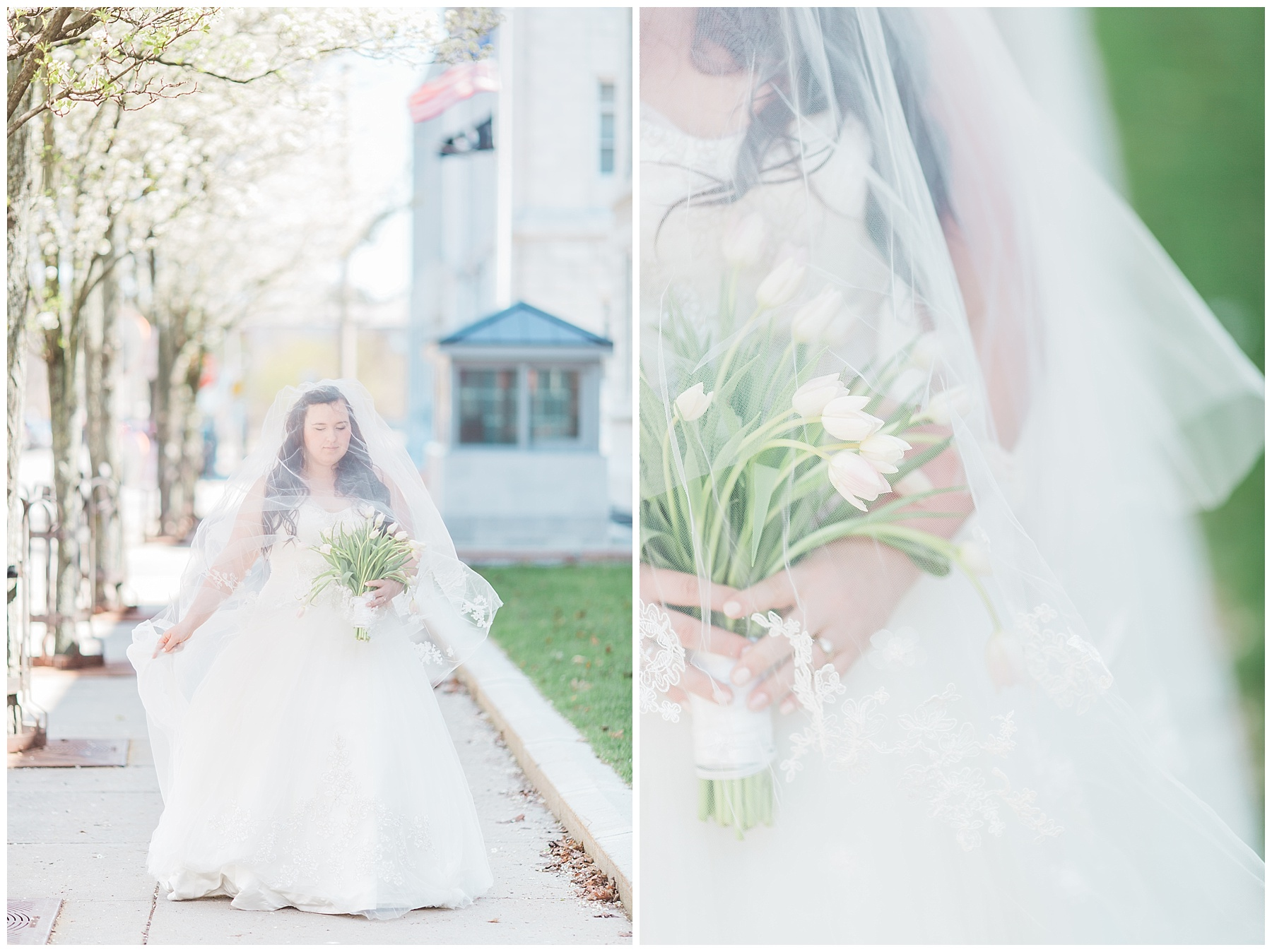 plus size couple in wedding attire taking wedding photos in downtown portland maine holding tulips
