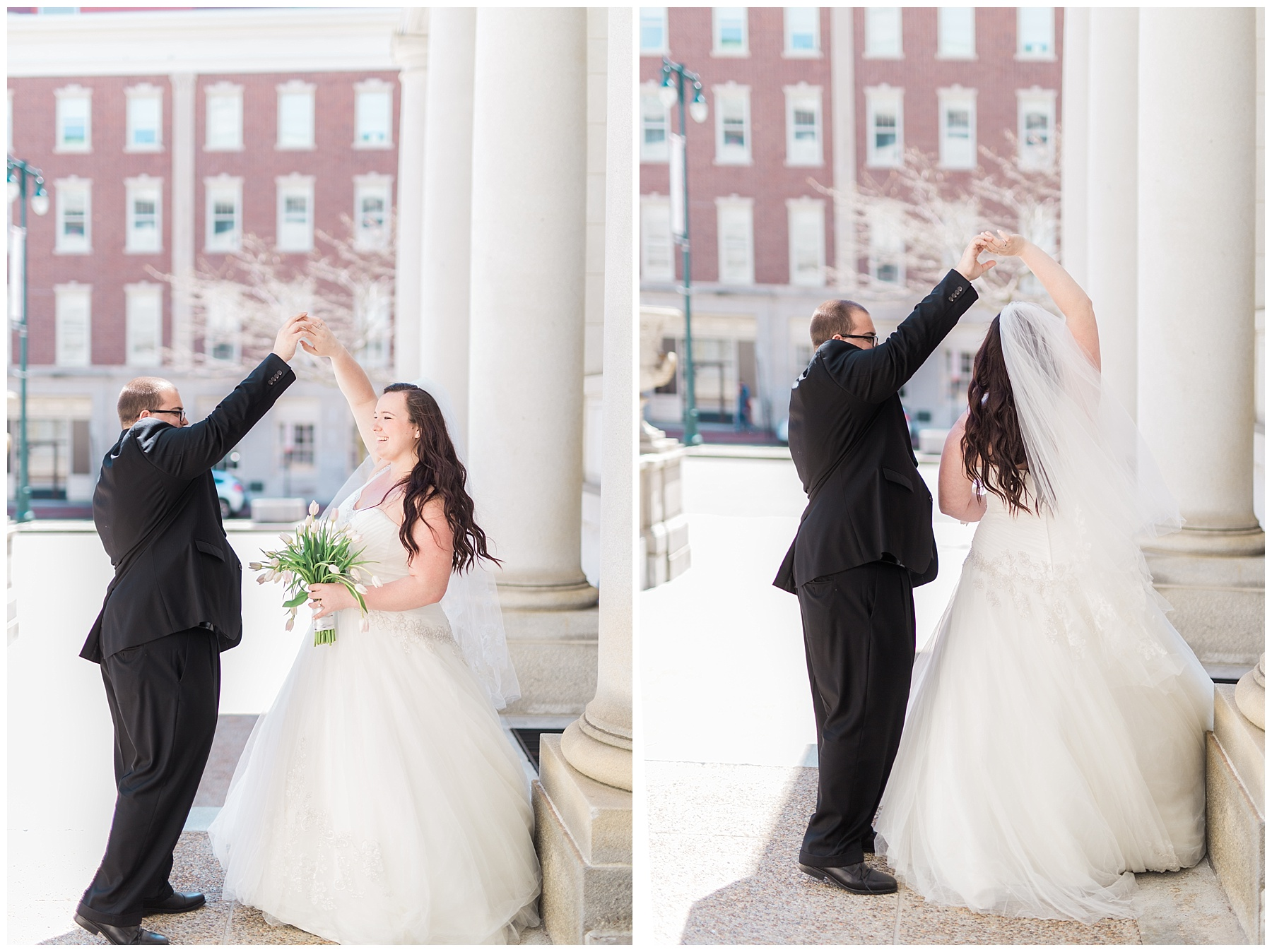 plus size couple in wedding attire taking wedding photos in downtown portland maine at city hall dancing holding tulips