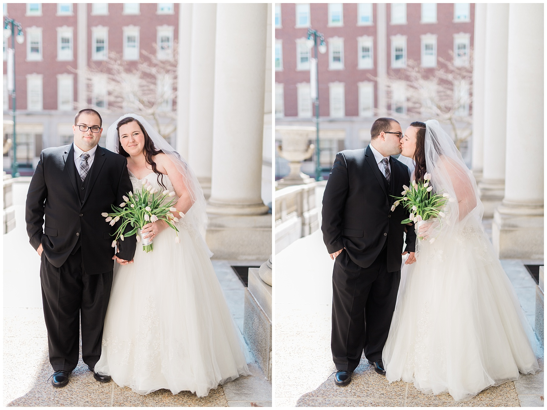 plus size couple in wedding attire taking wedding photos in downtown portland maine at city hall holding tulips