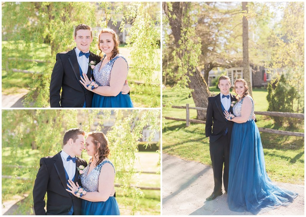monmouth academy junior and madison high school junior taking pictures together before prom in maine