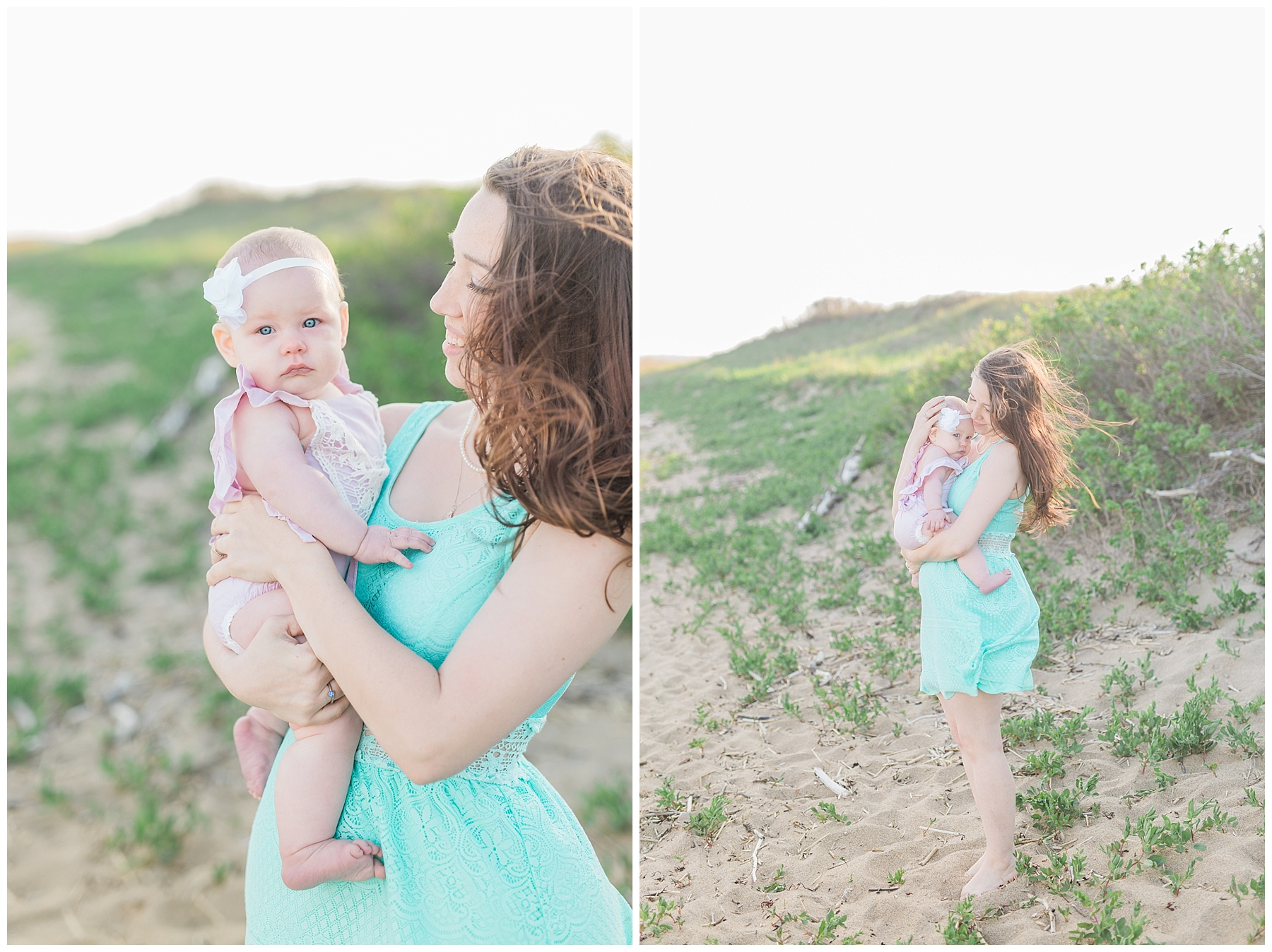 mommy and baby standing on the beach for a mommy and me session with her daughter
