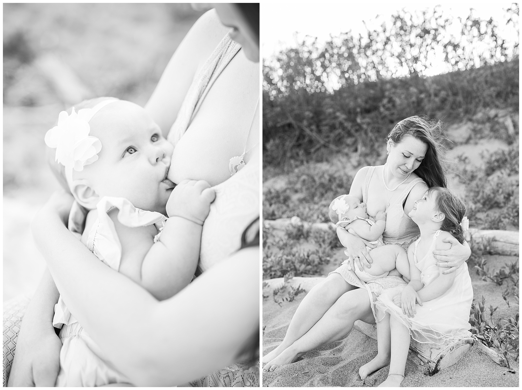 mommy and baby standing on the beach for a mommy and me session with her daughter while breastfeeding