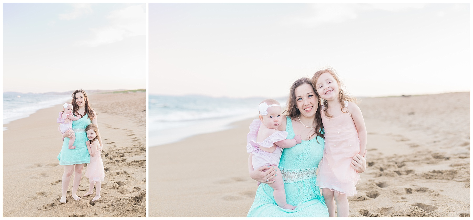 mommy and baby standing on the beach for a mommy and me session with her daughter with toddler