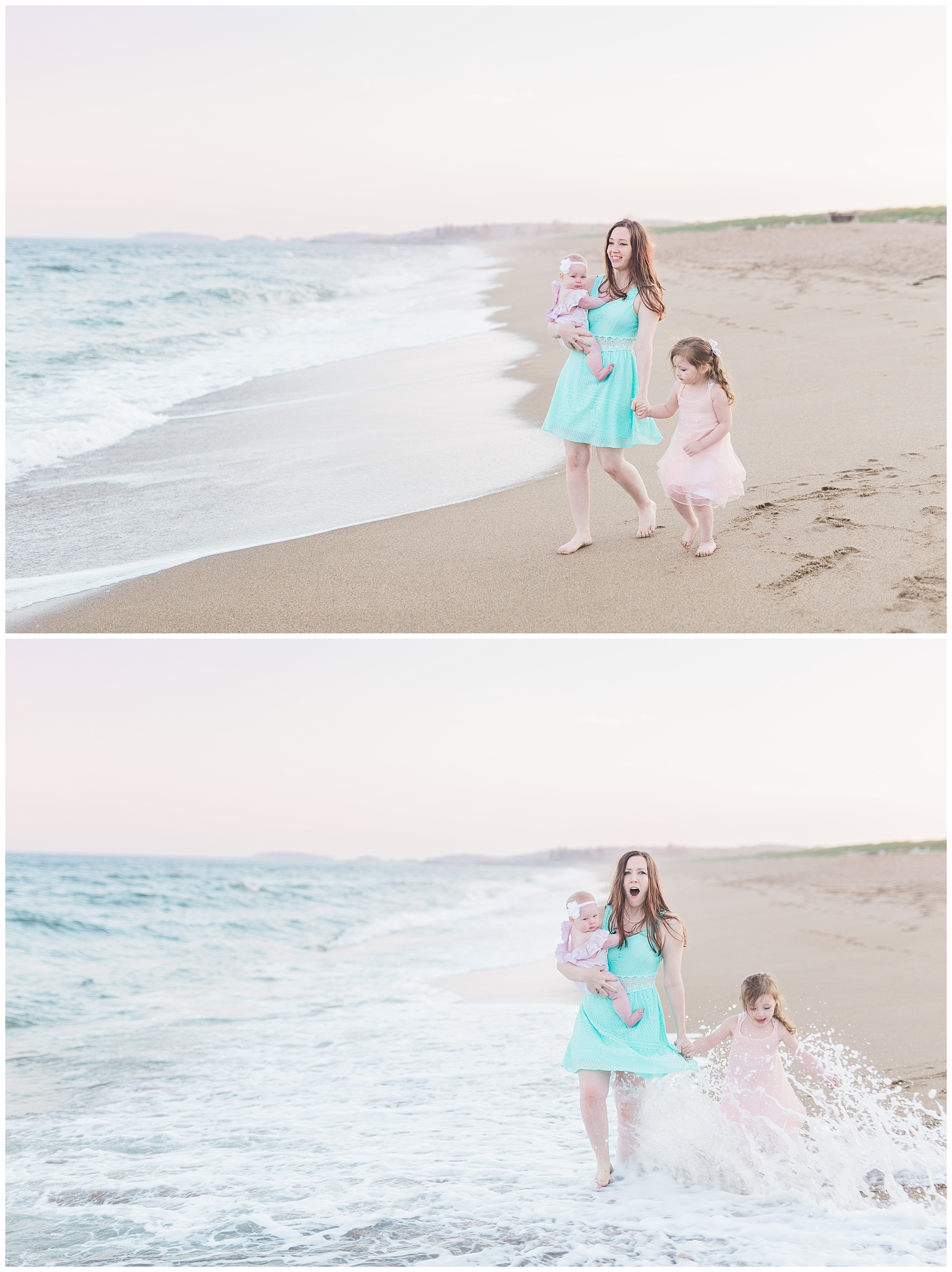 mommy and baby standing on the beach for a mommy and me session with her daughter with toddler and waves splashing