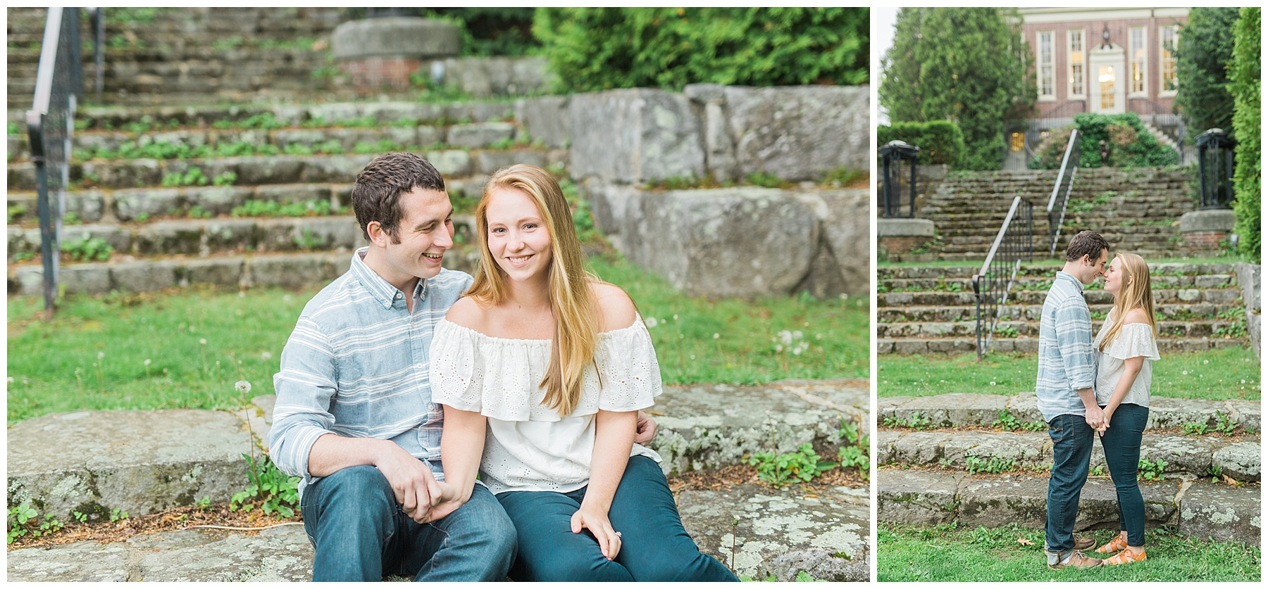 maine wedding photographer, camden harbor and amphitheater engagement session in maine
